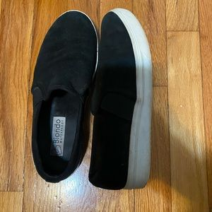 Black slide on sneakers